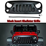 Front Matte Black Gladiator Grille Grid Grill with Mesh Insert For Jeep Wrangler Rubicon Sahara Sport JK JKU 2007-2017(189-5)