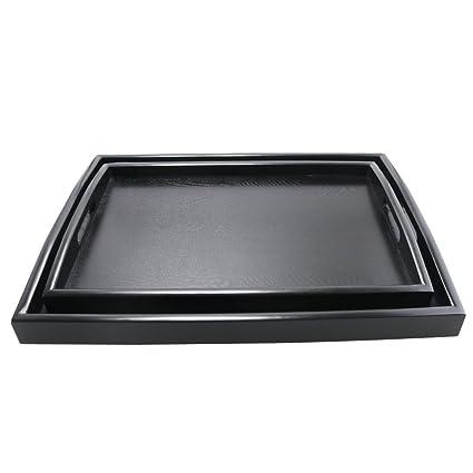 Dillman bandeja para servir grande rectangular de madera negro bandeja de alimentos Butler bandeja desayuno bandeja