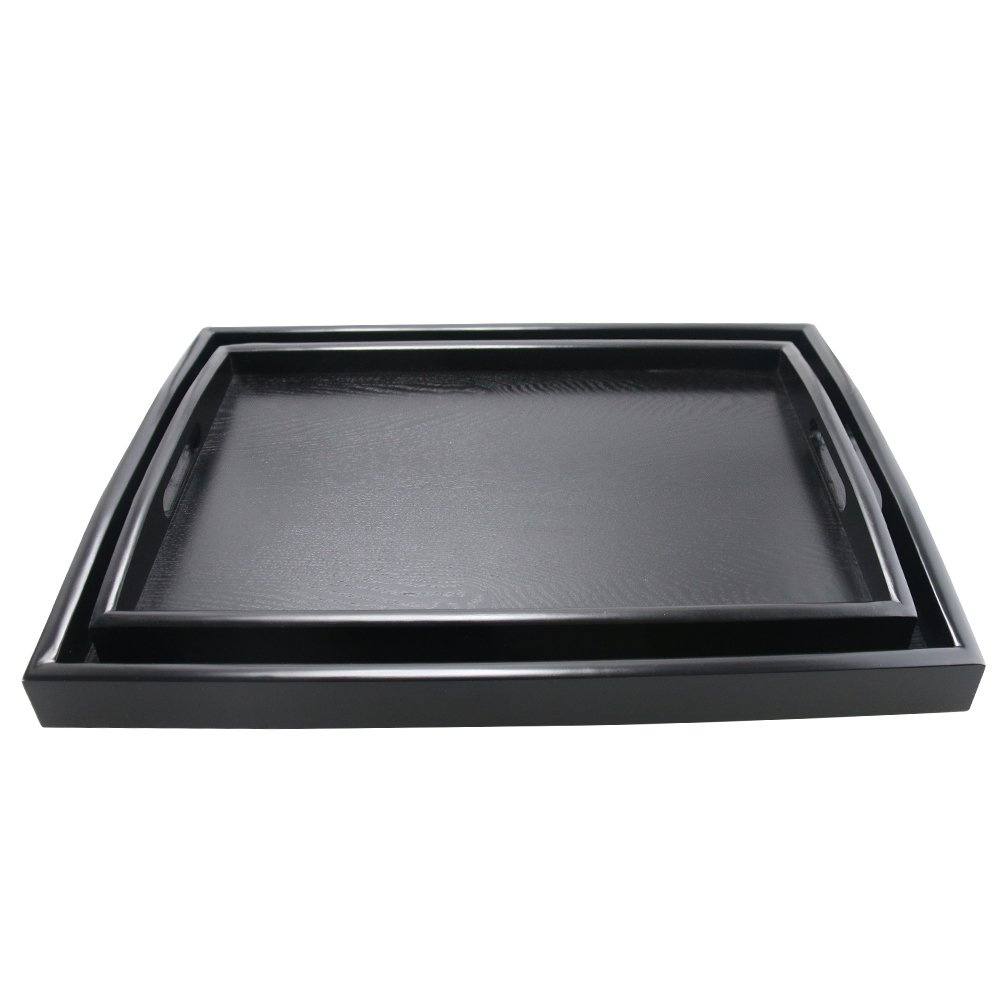 DILLMAN Serving Tray Large Black Wood Rectangle Food Tray Butler Tray Breakfast Tray With Handles (Large+Small)