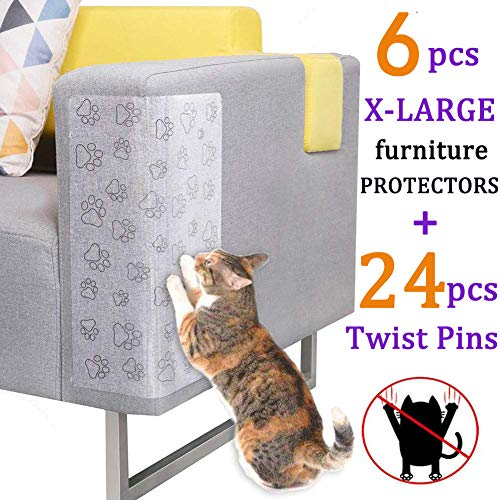 Pro Goleem 6 PCS Cat Scratching Guard Self-Adhesive Couch Guard for Cat Furniture Protector/Cat Scratch Deterrent for Sofa, Chair, Door, Table with 24 Twist Pins for Upholstery (17''×13'')