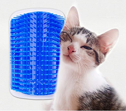 In In Cat Grooming Tool Hair Removal Brush Comb for Dogs Cats Hair Shedding Trimming Device with Catnip Wall Corner Massage Comb (Blue)