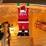 """Yeahbeer Patio Outdoor Decoration plush Santa Hanging From Gutter or on the eaves/chimney/tree 4'6"""" Tall"""