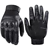 JIUSY Army Military Tactical Touch Screen Rubber Hard Knuckle Full Finger Gloves for Combat Motorcycle Motorbike Hunting Hiking Airsoft Paintball Riding