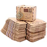Floratek 50 PCS Wedding Candy Boxes Wedding Party Favors New Stamp Design Vintage Kraft Paper Chocolate Packaging Box Gift Box for Wedding Party Baby Shower Guests Wedding Supplies (50)