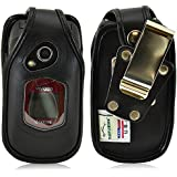 Turtleback Kyocera DuraXV, DuraXA Flip Phone Fitted Case - Made in USA (Black Leather / Rotating Metal Clip)