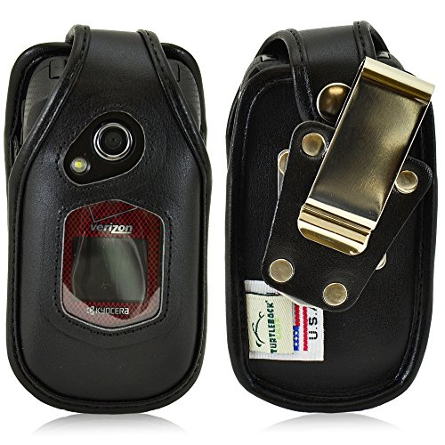 Turtleback Fitted Case for Kyocera DuraXV, DuraXA Flip Phone Black Leather Rotating Removable Metal Belt Clip - Made in USA