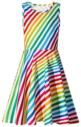 Ahegao Primary School Student's One Piece Sleeveless Big Kids Colorful Stripes A-Line Dress Vintage Floral Dresses for Girls Aged 8-9 Years Old ()