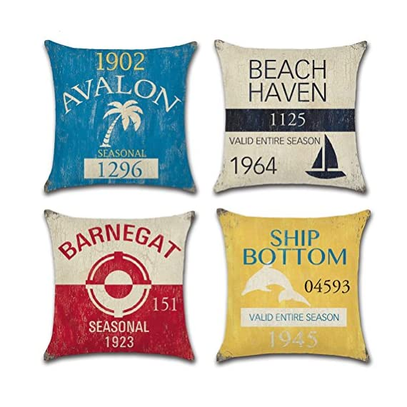 Vintage Series Throw Pillow Case U-Love Beach Cushion Cover for 18 X 18 Inch Nautical Pillow Inserts,4 Pack Coastal Pillow Covers - ✔Made of Durable and Environmentally Friendly Cotton Linen Materials.soft, fade-resistant and wrinkle-resistant;Keep your Square Throw Pillow clean and against scratch, finger marks. ✔Beach Pillow Cover,used for 18 x 18 Inches Pillow Inserts (pls note:Inserts are not included and the pattern paint one side only). ✔Easy to match your sofa, couch & other pillows.Soft and durable for both indoors (living room, office,bedroom, etc.) and outdoors (patio,car etc.). - patio, outdoor-throw-pillows, outdoor-decor - 51R5Tsxf rL. SS570  -
