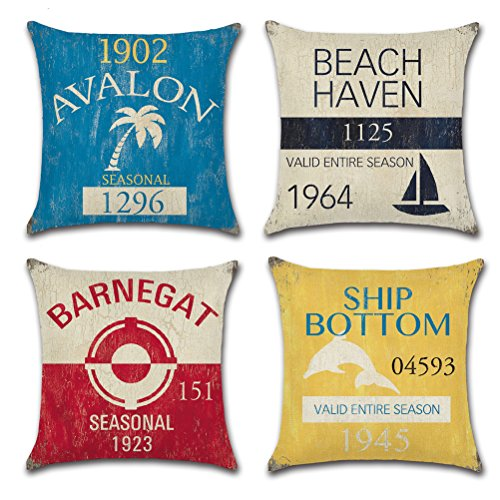(Vintage Series Throw Pillow Case U-Love Beach Cushion Cover for 18 X 18 Inch Nautical Pillow Inserts,4 Pack Coastal Pillow Covers)