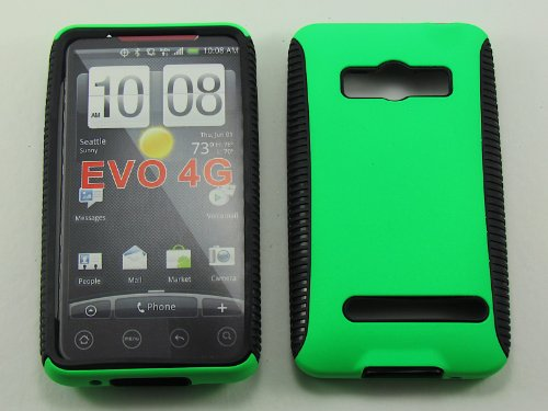 RUBBER EDGE GRIP HYBRID CASE FOR HTC EVO 4G A9292 SNAPHY LIME GREEN BLACK