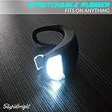 Stupidbright BLINK4 Mini Silicone Strap ON LED Bike Light - 8 Extra Batteries - 4 Lights - 2 Front & Rear Bike Light Set - Black & White