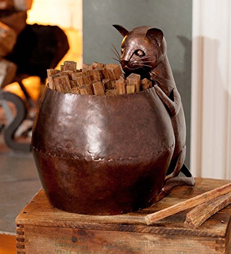 Metal Cat Fatwood Holder with 5 lbs. of Fatwood by Wind & Weather