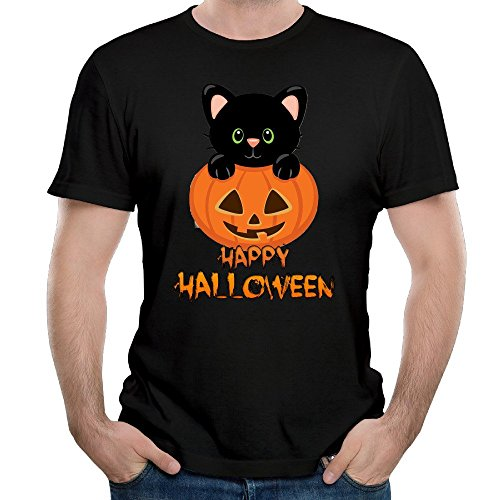 Men's Happy Halloween Pumpkin And Cut Cat Funny T Shirts Short Sleeve Printed
