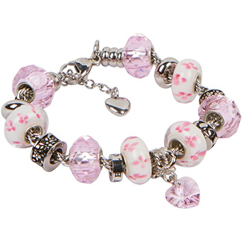 - Timeline Treasures Love Charm Bracelet With European Bead Charms For Girls, Stainless Steel Rope Chain, Love 6.5 Inch
