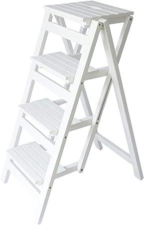 LIYFF-Escaleras plegables Madera Maciza Adulto de 4 Pasos Taburete de Escalera Cocina Biblioteca Muebles Blanco Paso Taburete Soporte de Flor MAX.150kg: Amazon.es: Hogar