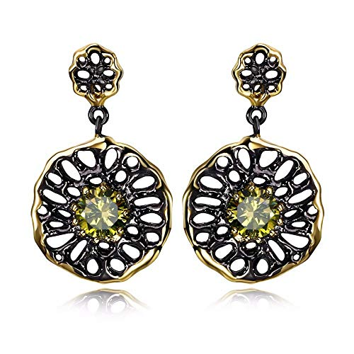 QMM earring Pendant earrings sEthnic Flower Earrings for Women Dangle Hollow Out Olivine Yellow Color Cz Pendientes Jewelry Girl Accessories Unique Party