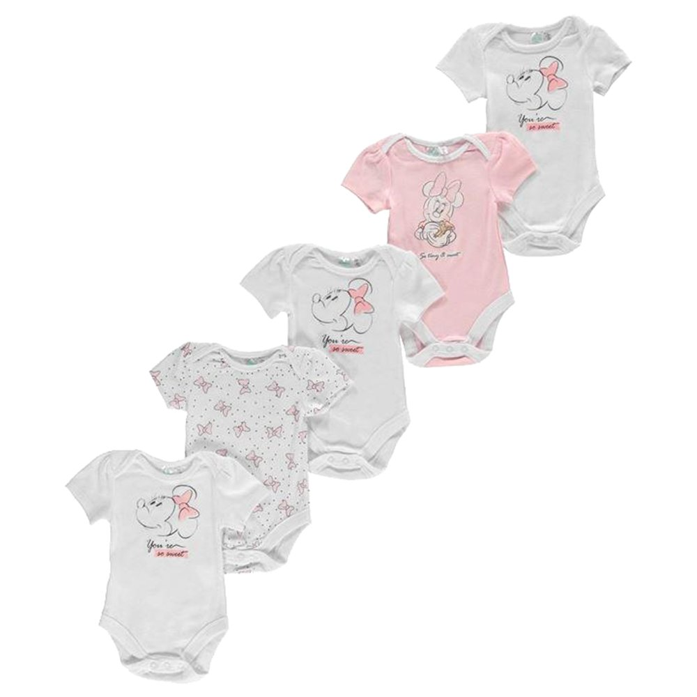 Character 5 Pack Babies Boys Girls Disney Casual Cotton Bodysuits