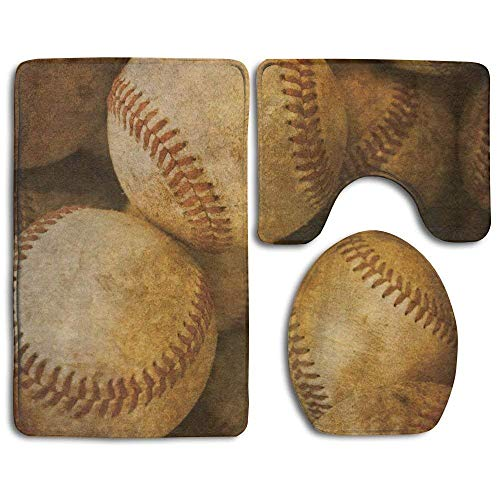 (Non Slip Bathroom Rug Toilet Sets, Bathroom Rug Vintage Baseball Backgorund American Sports Theme Nostalgic Leather Retro Balls 3 Piece Bath Mat Set Contour Rug and Lid Cover New3)