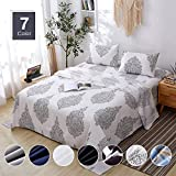 Agedate 4 Piece Brushed Microfiber Bed Sheets Set, Deep Pocket Bed Sheets Queen, Hypoallergenic, Easy to care, Fade, Stain and Wrinkle Resistant, Queen Size, White and Black Paisley Patterned Larger Image