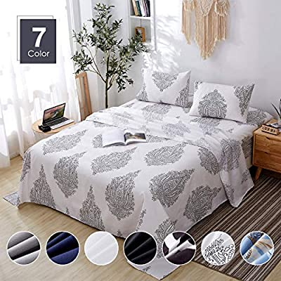 Agedate 4 Piece Brushed Microfiber Bed Sheets Set, Deep Pocket Bed Sheets Queen, Hypoallergenic, Easy to Care, Fade, Stain and Wrinkle Resistant, Queen Size, White and Black Paisley Patterned - ★〖100% Brushed Microfiber〗: Our brushed microfiber sheets are composed of extremely fine fibers of polyester, which are ultra-breathable, ultra-soft and affordable, offer you a luxury hotel-like sweet sleep experience, no more sweaty and sleepless nights. ★〖Breathable and Hypoallergenic〗: We pursue the best and adopt premium microfiber fabric which is mild and non-itching to the skin, free from stimulation, an ideal choice for allergy sufferers. ★〖Durable and Colorfast〗: Using the newest stitching technology, the sheets have high density and exquisite seam which make it will not shrink or pill. Owing silky elegant luster and higher color fastness than cotton fabrics, our bed sheet set is a great gift idea for men and women, Moms and Dads, Valentine's - Mother's - Father's Day and Christmas. - sheet-sets, bedroom-sheets-comforters, bedroom - 51R5VFLqttL. SS400  -