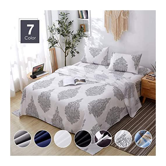 Agedate 4 Piece Brushed Microfiber Bed Sheets Set, Deep Pocket Bed Sheets Queen, Hypoallergenic, Easy to Care, Fade, Stain and Wrinkle Resistant, Queen Size, White and Black Paisley Patterned - ★〖100% Brushed Microfiber〗: Our brushed microfiber sheets are composed of extremely fine fibers of polyester, which are ultra-breathable, ultra-soft and affordable, offer you a luxury hotel-like sweet sleep experience, no more sweaty and sleepless nights. ★〖Breathable and Hypoallergenic〗: We pursue the best and adopt premium microfiber fabric which is mild and non-itching to the skin, free from stimulation, an ideal choice for allergy sufferers. ★〖Durable and Colorfast〗: Using the newest stitching technology, the sheets have high density and exquisite seam which make it will not shrink or pill. Owing silky elegant luster and higher color fastness than cotton fabrics, our bed sheet set is a great gift idea for men and women, Moms and Dads, Valentine's - Mother's - Father's Day and Christmas. - sheet-sets, bedroom-sheets-comforters, bedroom - 51R5VFLqttL. SS570  -