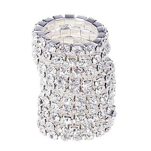 - Ownsig 10X Fashion Elastic Jewelry Women Silver Rhinestone Rings Set