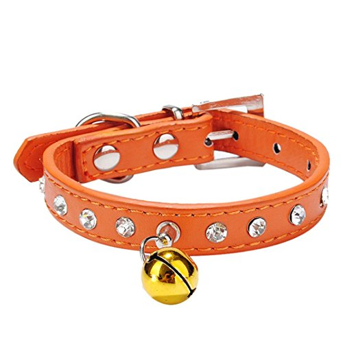 (haoricu Doggy Collar, Dog Pet Puppy Cat Bling Crystal with Small Bell Necklace (S,)