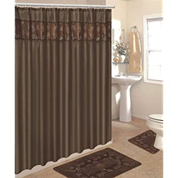 4 Piece Bathroom Rug Set 3 Chocolate Ring Bath Rugs With Fabric Shower Curtain