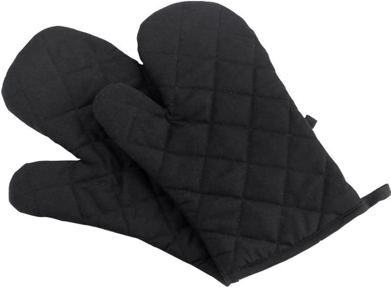 Oven Mitts, Premium Heat Resistant Kitchen Gloves Cotton & Polyester Quilted Oversized Mittens, Black