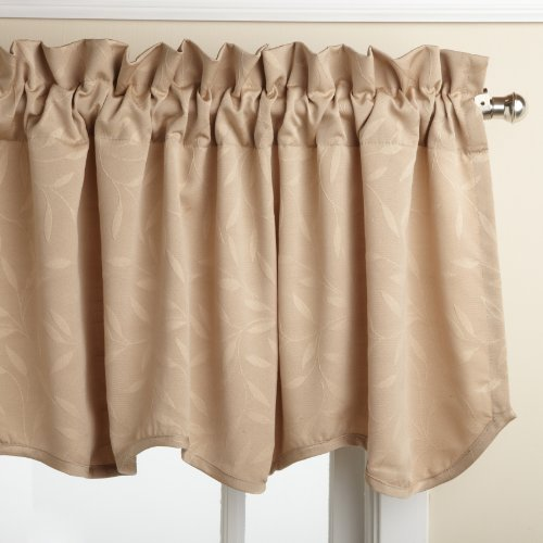 Lorraine Home Fashions Whitfield 52-inch by 18-inch Scalloped Valance, (Latte Window Valance)