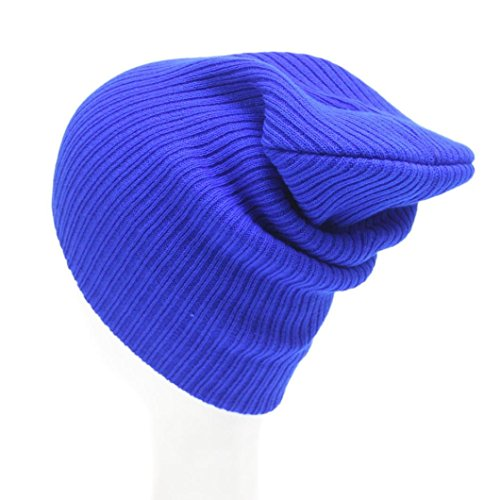 [YIWULA Knit Ski Cap Hip-Hop Winter Warm Unisex Wool Hat (Blue)] (Hip Hop Felt Hat With Feather)