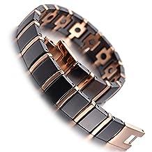 Mens Tungsten Bracelet Hematite Magnetic Link Bracelet Black & Rose Gold Polished + Link Removal Tool