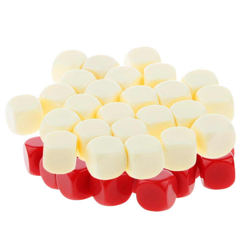 Fityle 50Pc Blank Combo Dice Set Opaque D6 16mm for Dungeons /& Dragons Role Playing Red /& Beige