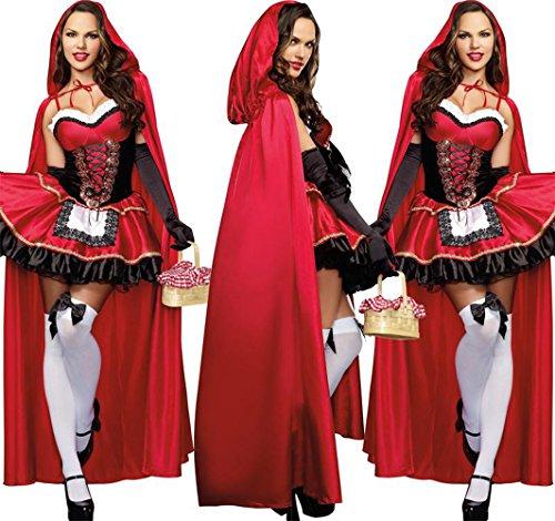 Fanala Little Red Riding Hood Costume Fancy for Women Halloween Cosplay Dress (M) (Little Red Riding Hood Cosplay)