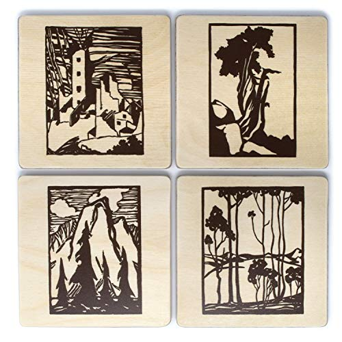 Set of 4 Artisan Wood Coasters, Home Decor - Everett Ruess Block Print Collection … from Mitercraft
