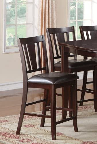 Set of 2 Counter Height Stools with Padded Seat in Deep Brown Finish