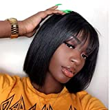 Quinlux Wigs 150% Density Full Lace Wig with Air Bangs Natural Color Short