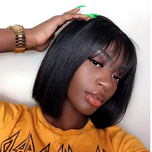 (Quinlux Wigs 150% Density Full Lace Wig with Air Bangs Natural Color Short Bob Wigs Brazilian 100% Human Hair For Women (8 Inch/full lace wig, 150% density))