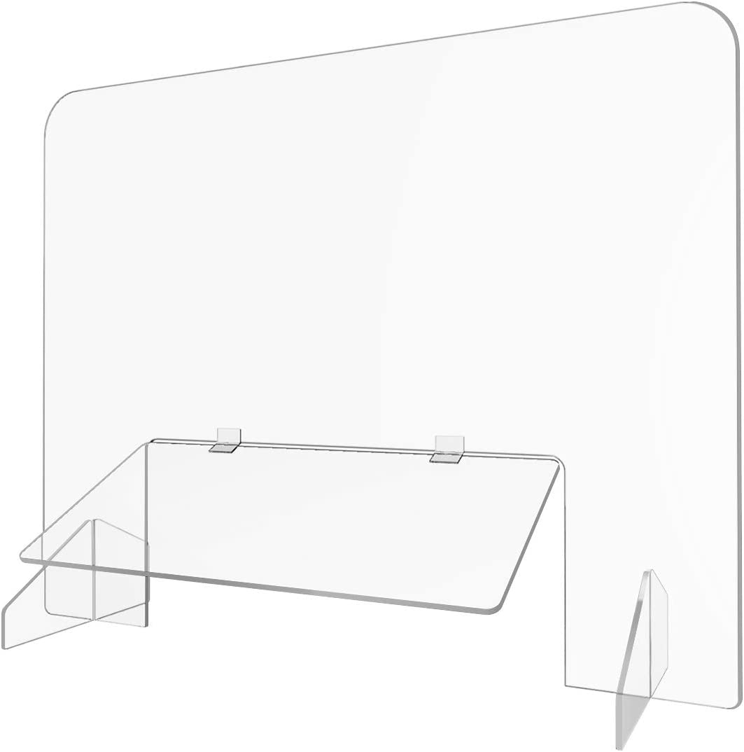"""Sneeze Guard for Desk/Counter No Cutout Protective Acrylic Plexiglass Shield Scratch Resistant Barrier with 18"""" x 6"""" Transaction Window Flap for Business School Office - 32""""W x 24""""H"""