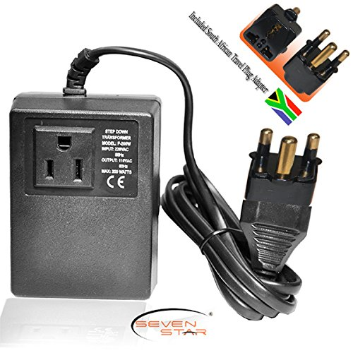 Seven Star Transformer 200W Step Down 220/110 + South Africa Travel Adapter (110 Star)