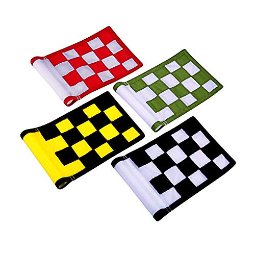 KONDAY Golf Flag,Green Golf Flags,Solid Nylon and Checkered Traning Golf Putting Green Flags, Indoor Outdoor Backyard Garden Portable Golf Target Flags,8.7inch6inch (4-Sets New Version) - Standard Golf Golf Flag