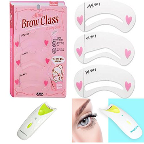 Easy Eyebrow Shaper and Tracer for Perfect Eyebrows Every Time - 3 Shapes And Heated Eyelash Curler by One & Only (Panasonic Eh2331p Heated Pad)