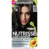soft black hair color - Garnier Nutrisse Ultra Coverage Hair Color, Deep Soft Black (Black Sesame) 200 (Packaging May Vary)
