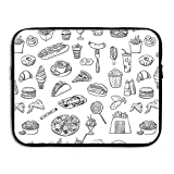 Sunmoonet Laptop Sleeve, Fast Food Taco Pizza 13 Inch 15 Inch Laptop Sleeve, Water Repellent Universal Portable Computer Liner Case Laptop Sleeves Notebook Bag Cover For Women Men