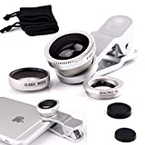 I-Sonite (Silver) Mobile Phone Universal Camera Lens 3 In 1 Kit Wide Angle Lens + Fisheye Lens + Macro Lens With Clip-On 180 Degree For Archos Sense 50X