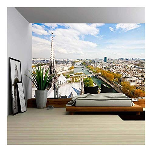 wall26 - Paris S Skyline from The Top of Notre Dame Cathedral - Removable Wall Mural | Self-Adhesive Large Wallpaper - 66x96 inches