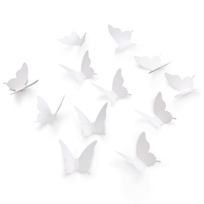 Luxbon 40p 3D Efecto de Mariposas Blanco Navidad DIY Decoración ...