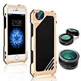 iPhone 6/6s Camera Lens Kit, OXOQO 3 in 1 198° Fisheye Lens + 15X Macro Lens + Wide Angle Lens with IP54 Dustproof Shockproof Aluminum Case, Built-in Screen Protector for IPhone 6/6s 4.7 Inches(Gold)