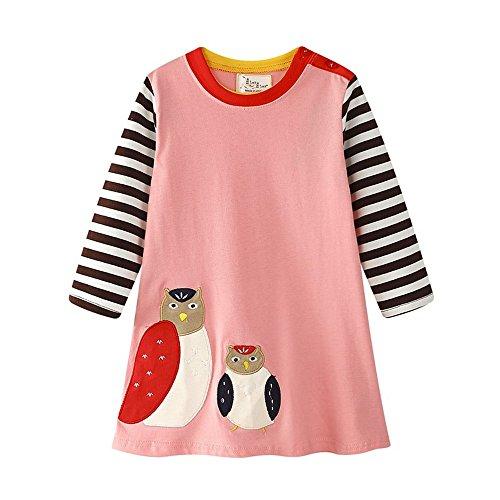 Girls Cotton Dress Stripe Long Sleeve Casual Cartoon Animal Print Applique Long Shirt For (Lightweight Cotton Dress)