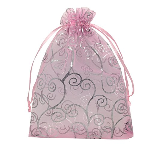 YIJUE 100pcs 5x7 Inches Drawstrings Organza Gift Candy Bags Wedding Favors Bags (Pink with Silver) ()